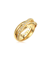 Gold-plated & crystal triple band ring