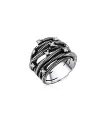 Rhodium-plated & glass wrap ring