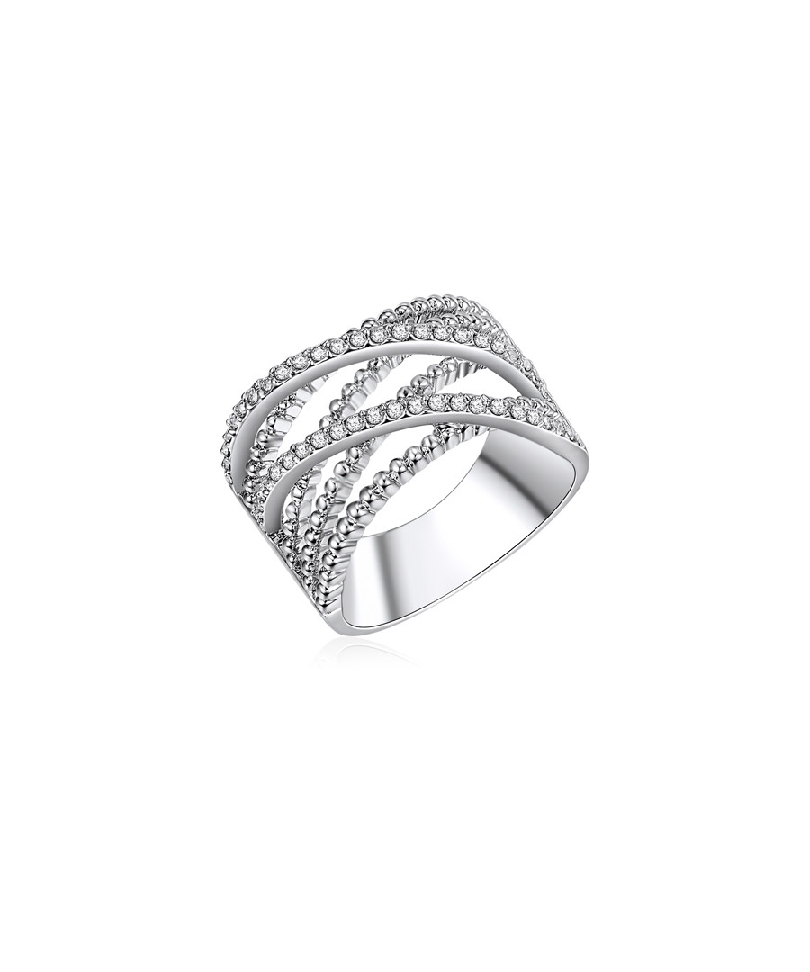 Rhodium-plated & glass twist ring Sale - runway