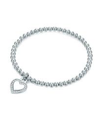 Rhodium-plated heart charm bracelet