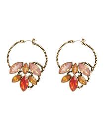 Bronze-tone & pink crystal earrings