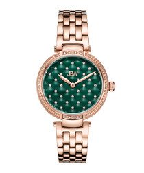 Gala 18ct gold-plated & crystal watch