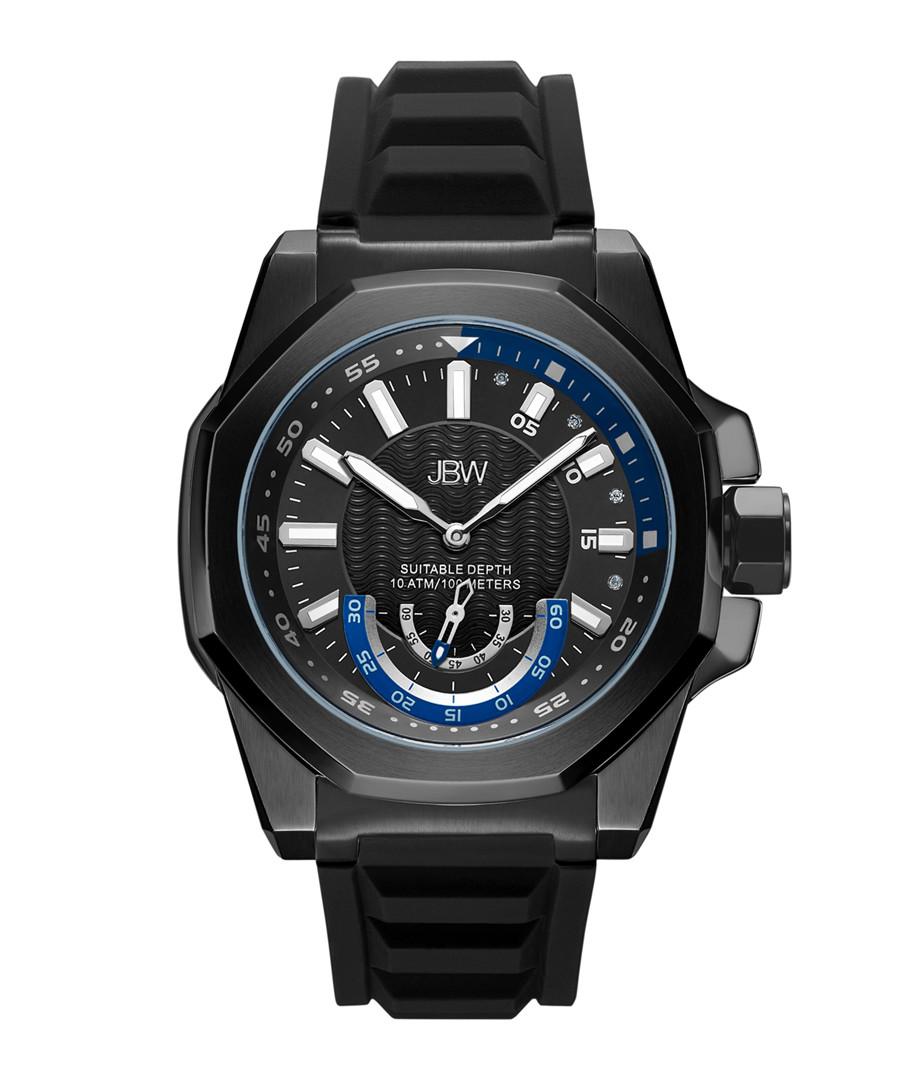 Delmare black ion-plated silicone watch Sale - jbw