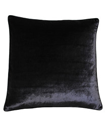 Luxe black velvet cushion 55cm