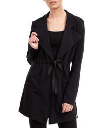 Black cotton blend tie-up jacket