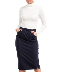 Navy blue cotton blend fitted midi skirt