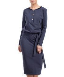 Blue cotton blend button up midi