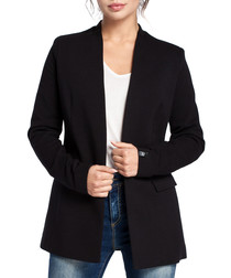 Black cotton blend collarless blazer