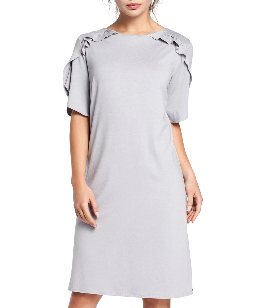 Grey cotton blend ruffle detail dress Sale - bewear