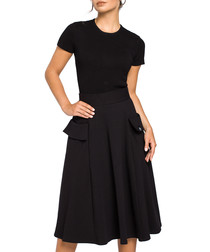 Black cotton blend pocket skirt