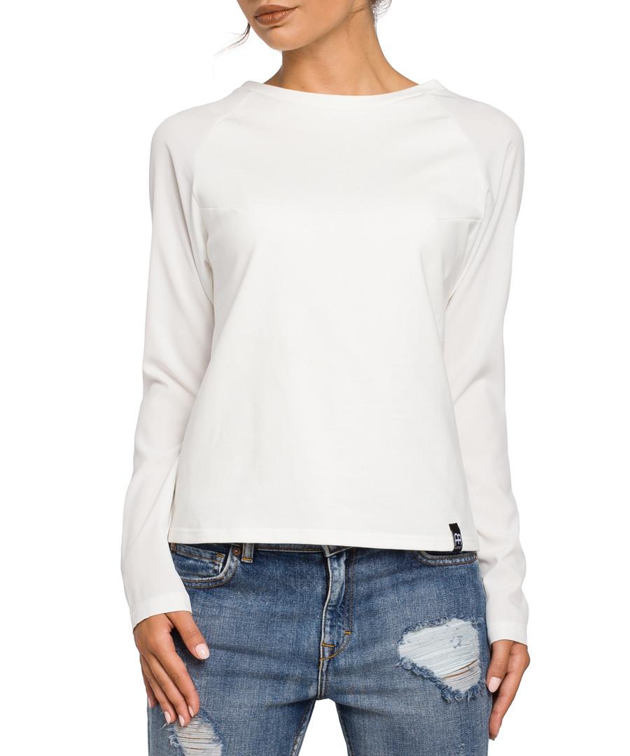 Ecru cotton blend long sleeved top Sale - bewear