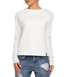 Ecru cotton blend long sleeved top