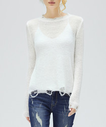 White mohair & alpaca blend jumper