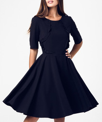 Black frill detail knee-length dress