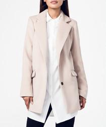 Beige cotton & cashmere blend coat
