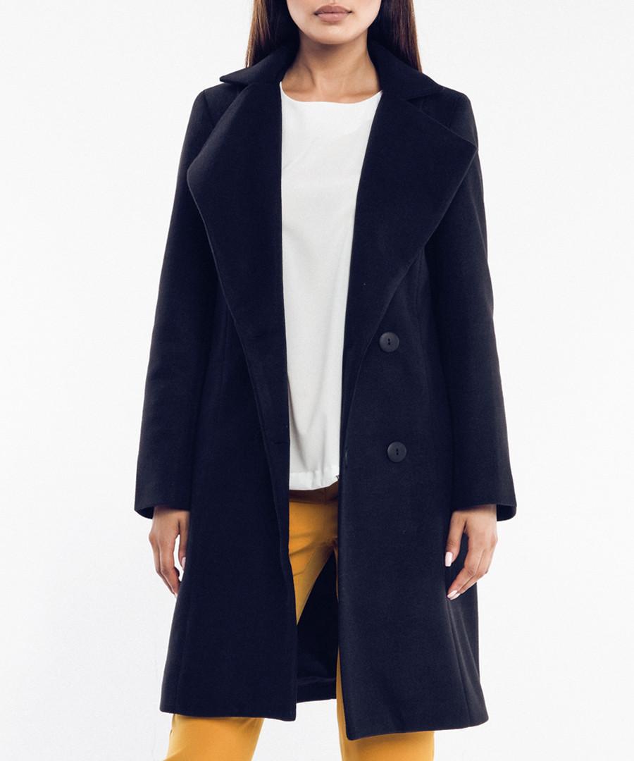 Black wool blend double-breasted coat Sale - rita koss