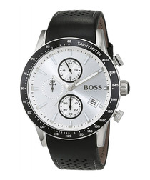 Black & silver-tone leather watch