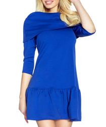Blue pleated hem mini dress