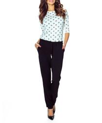 White & black contrast print jumpsuit
