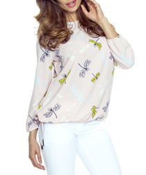Pink dragonfly long-sleeve blouse
