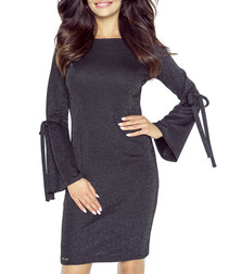 Black tie sleeve fitted dress