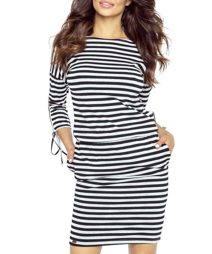 Black & grey stripe tie-sleeve dress Sale - bergamo