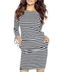 Black & grey stripe tie-sleeve dress