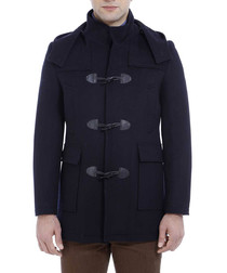 black wool blend padded hood jacket