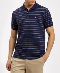 Navy pure cotton stripe polo shirt