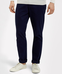 Navy cotton blend casual trousers