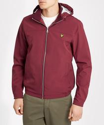 Claret cotton blend hooded jacket