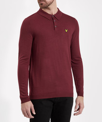 Claret wool blend long sleeve polo shirt