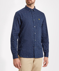 Navy pure cotton print logo shirt