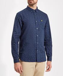 Navy pure cotton print logo shirt