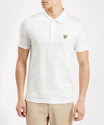Off-white pure cotton print polo shirt