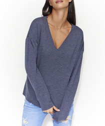 Dark blue melange cotton blend jumper