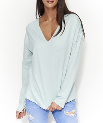 Mint melange cotton blend jumper