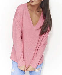 Raspberry melange cotton blend jumper