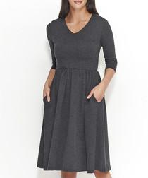 Graphite melange cotton blend dress