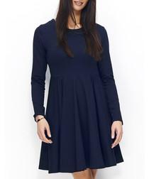 Dark blue cotton blend long sleeve dress