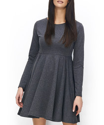 Graphite cotton blend long sleeve dress
