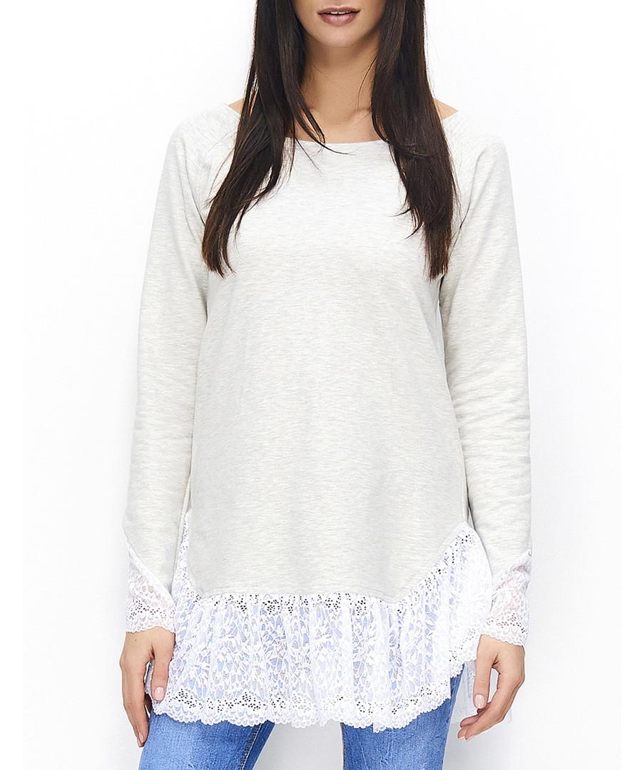 Beige cotton blend lace trim top Sale - Numinou