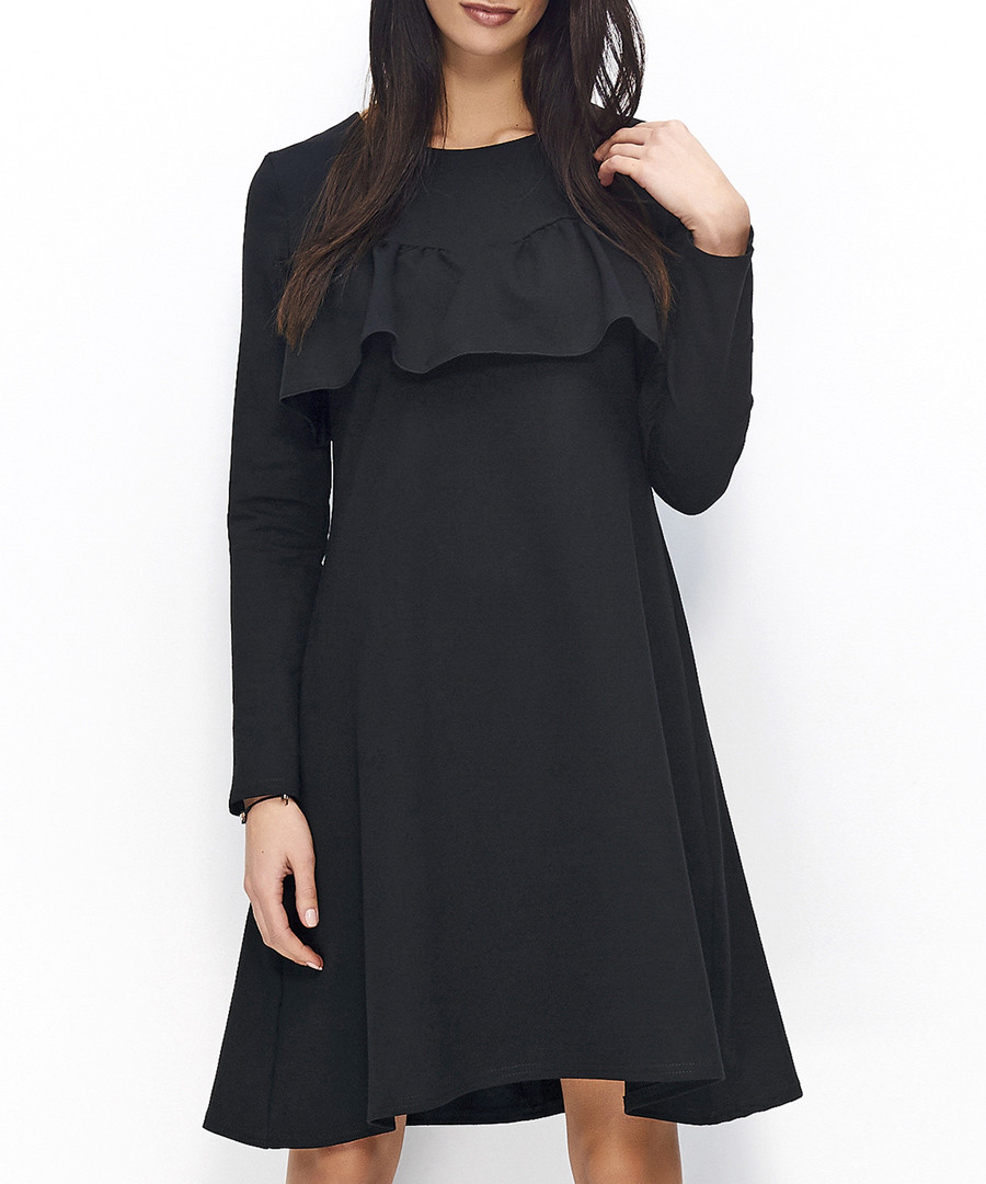 Black cotton blend ruffle overlay dress Sale - numinou