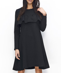 Black cotton blend ruffle overlay dress