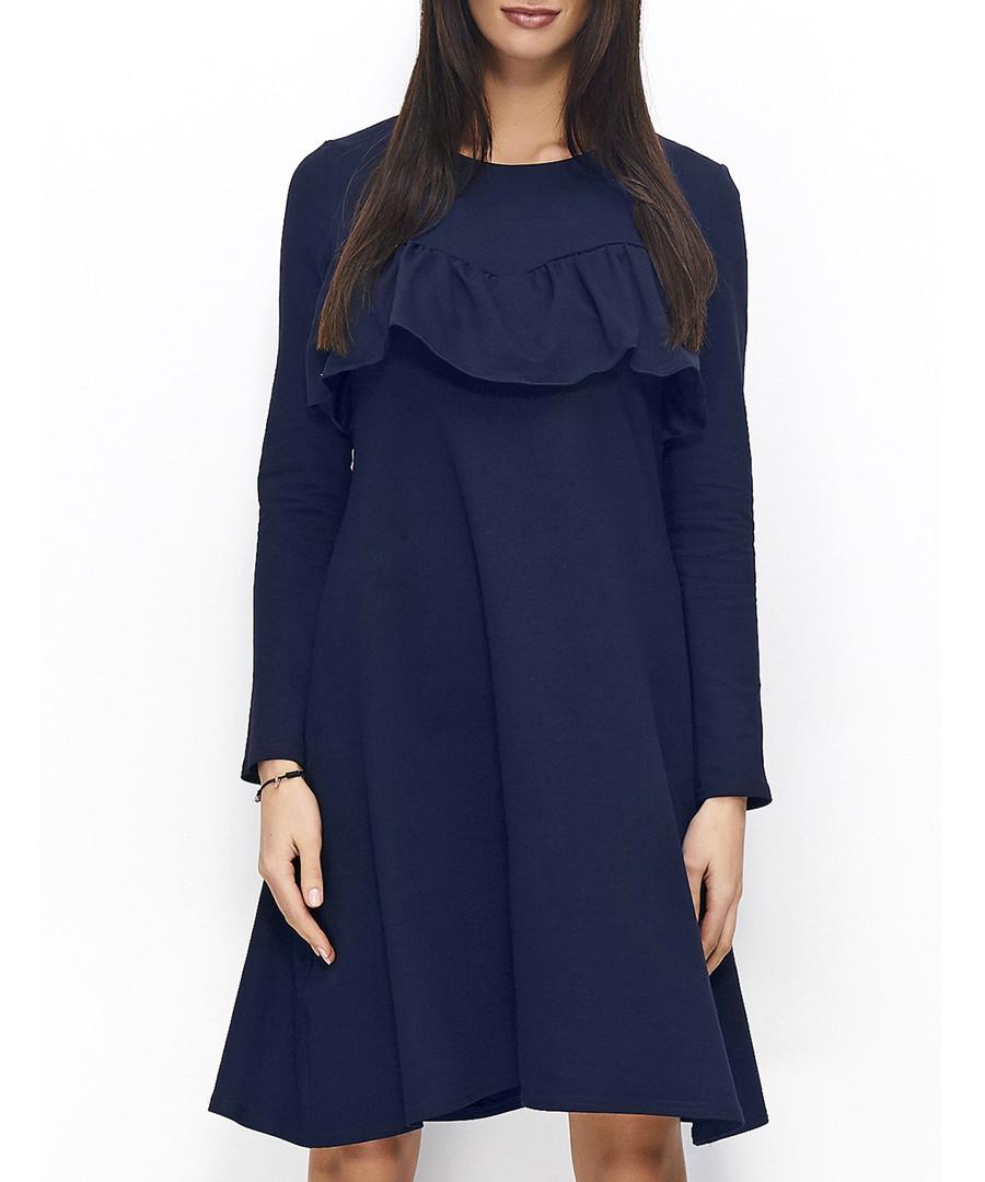 Navy cotton blend ruffle overlay dress Sale - numinou