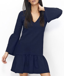 Navy cotton blend bell sleeve dress