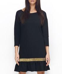 Black & gold cotton blend ribbon dress