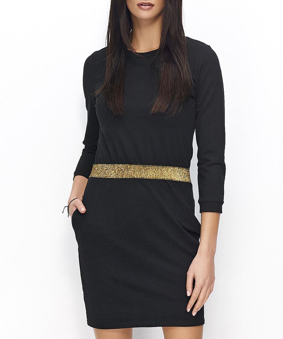 Black & gold cotton blend belted dress Sale - numinou