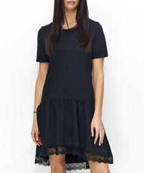 Black cotton blend lace hi-low dress
