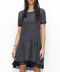 Graphite cotton blend lace hi-low dress